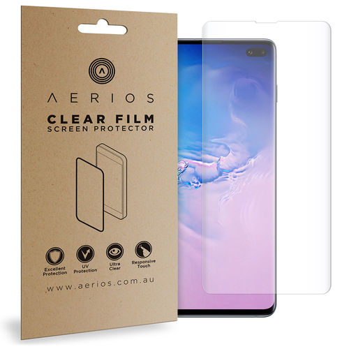 Aerios (2-Pack) Full Coverage TPU Screen Protector for Samsung Galaxy S10+